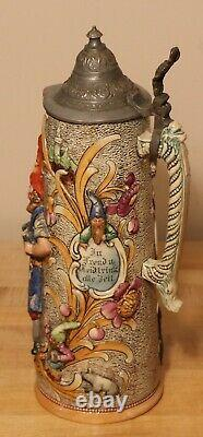 Gnomes by Diesinger 2 liter German beer stein antique # 810