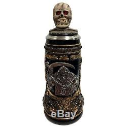 Grim Reaper with Skull Lid LE Stoneware German Beer Stein. 5 L Made in Germany