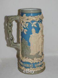 Grosser Bierkrug SIEFRIED & GUTRUNE Nibelungen big German beer stein 1880/90