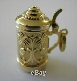 HEAVY Vintage 14k Gold OPENING GERMAN BEER STEIN Bracelet Charm 4.7 Gr #18008H