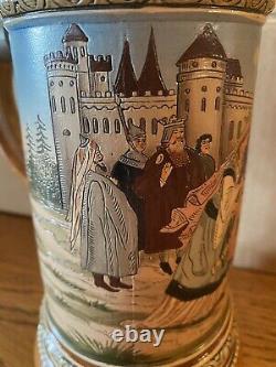 HR Hauber & Reuther 417 Antique German Etched Beer Stein -Lohengrins Departure