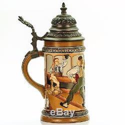 HR Hauber & Reuther 458 Antique German Mug Lidded Beer Stein Bowling ca. 1890s
