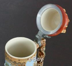 HUGE! Antique German Pottery Relief Beer Stein Prosit with Castle Lid 15 3/4h