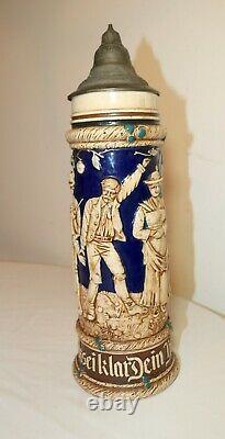 HUGE antique figural painted German pottery pewter lidded beer stein mug tankard