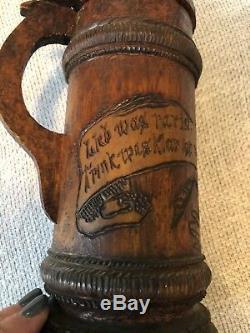 Handcarved 1904 Signed M. L. Hughes Wooden German Beer Stein