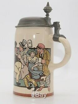 Hofbrauhaus Party 1909 / 1102 Mettlach Geschutzt German Beer Stein 1/2 L