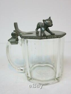 Hohlwein Tankard German Beer Stein Glass Large Figural Cat Lid Mettlach Era