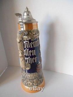 Huge German Beer Stein Mug Handarbeit Stein GERZIT Vintage -Germany 16.5 Tall