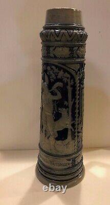 Huge Vintage German Saltglazed Stoneware Beer Stein withViking Hunter Theme ST55