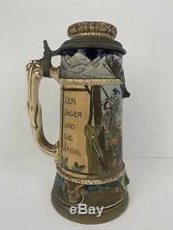 J. W. REMY Antique 1900 Lidded Mug German Beer Stein Hunting Scene 1409 Signed
