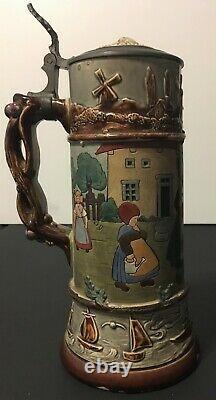 J. W. Remy 11072 German Beer Stein Dutch Children Circa 1930's RARE Variation