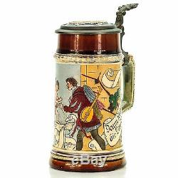 J. W. Remy 1370 Antique Etched Lidded Mug German Beer Stein -Cherub and Troubador