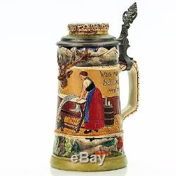 J. W. Remy 1434 Antique Etched Inlaid Lidded Mug German Beer Stein Tavern Scene