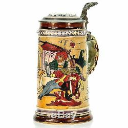 J. W. Remy 806 Antique Etched Lidded Mug German Beer Stein Tavern Scene 1900s