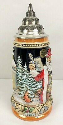 KING-WERK Handcrafted German Beer Stein Limited Edition Santa Motif with COA