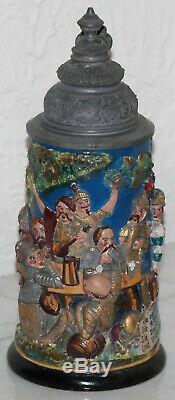Knights Drinking German beer stein Reinhold Hanke # 1400 Antique