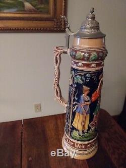 LARGE Vintage German Beer Stein withPewter Lid, 23 Tall, base Diameter 7