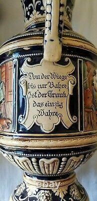 LOT Large Vintage German Lidded Beer Stein 18, BOOT 10 & Mugs Cups 1940s-50s