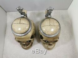 LOT OF 2 Antique Vintage Skull Character German Beer Lidded Steins 0,5 l