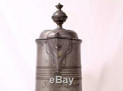 Large Antique Early German Pewter Beer Stein/Pitcher Kanne Engraved circa 1840s