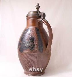 Large Antique Early German Saltglazed Stoneware Beer Stein Muskau c. 1820s