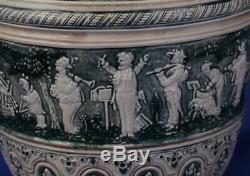 Large Antique German Beer Stein Musical Scenes by R. Merkelbach #102 c. 1890s