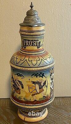 Large Antique German Beer Stein Pitcher