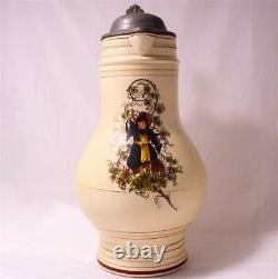 Large Antique German Beer Stein/Pitcher Birnkrug withMunich Child Enameled c. 1900
