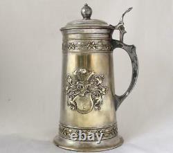 Large Antique German Brass Silver Plate Hammered Beer Stein Prinzen-Garde 1906
