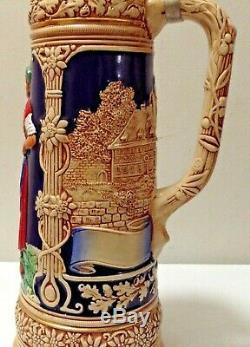 Large German Beer Stein withPewter Lid, 16 Tall, 5 1/2 Diameter