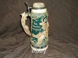 Large Vintage German Lidded Beer Stein 12 Tall Suprised by the storm Hunting
