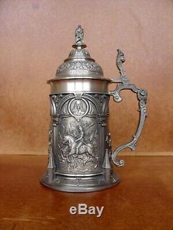 Large pewter (zinn) German beer mug (stein) by WMF Zinn Galerie