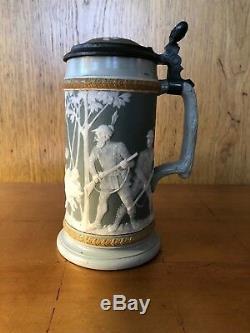 Late 19th Century Mettlach German 1/2 Liter Beer Stein Hunting Scene Brewery Pub