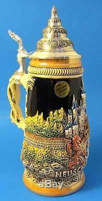 Limited Edition German Lidded Beer Stein. Hand-painted Neuschwanstein Castle