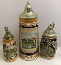 Lot Of 3 German Lidded Beer Steins Bitburg Eifel Germany Vintage VTG
