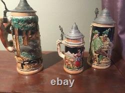 Lot Of 3 Vintage Authentic GERMAN LIDDED BEER STEINS ANTIQUE