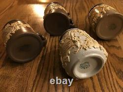 Lot of 4 Mettlach 1/2 liter Antique German beer steins 1370 1180 Hops Vines Nice