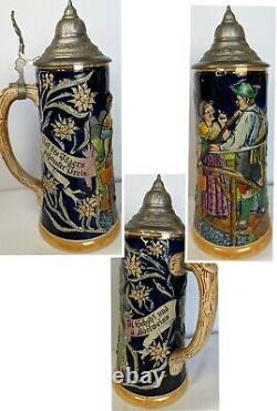 Lot of 5 Vintage German Beer Steins, Pewter Lids