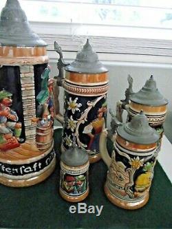 Lot of 5 Vintage German Beer Steins with Lids Graduated Set 11 TO 3 1/2