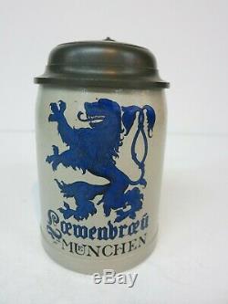Lowenbraeu München Brewery German Beer Stein (Mettlach Era) 100 Year Old