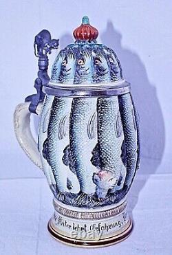 MAJOLICA GERMAN BEER STEIN Vintage/Antique Herring Hangover RARE Ltd Edition