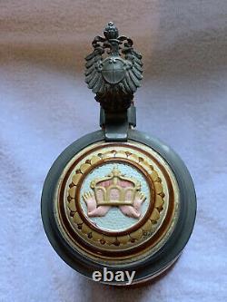 METTLACH BEER STEIN #2201 PRUSSIAN GERMAN EAGLE KING KAISER CROWN 1890s 1/2L