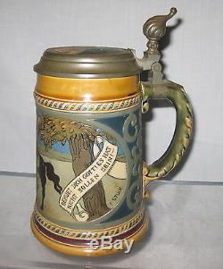 METTLACH GERMAN ETCHED BEER STEIN SIGNED # 2008 ca. 1900