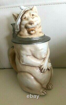 MUSTERSCHUTZ c. 1900 Cat with a Hangover German Porcelain Beer Stein RARE
