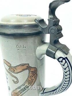 Marzi & Remy 1768.5 L Antique German Beer Stein Man on Flying Beer Keg HB Gift