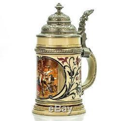 Marzi & Remy #448 Antique Lidded Mug German Beer Stein Dancing Scene ca. 1890