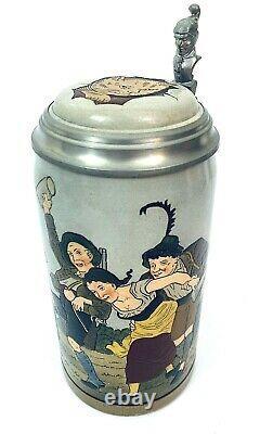 Marzi & Remy Antique German Beer Stein 1618 1 Liter Festive Drinking Scene Gift