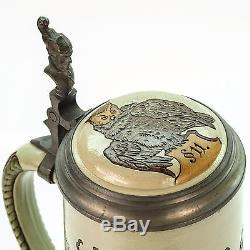 Marzi & Remy Antique Lidded Mug German Etched Beer Stein Gnomes in Vines 1900s
