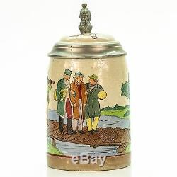 Marzi & Remy Antique Lidded Mug German Etched Beer Stein Traveling Musicians