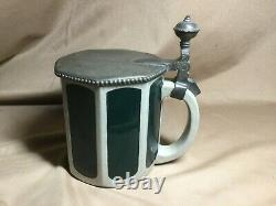 Marzi & Remy German Art Nouveau Green Panel Beer Stein withPewter Lid